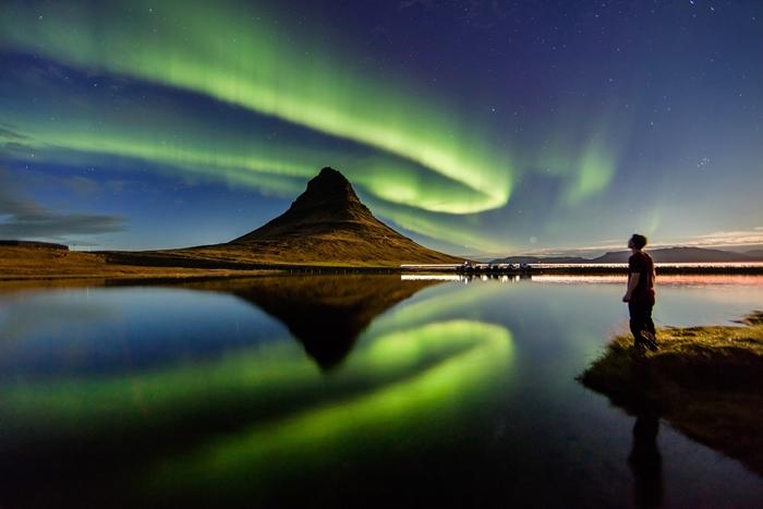 volcan islandia aurora